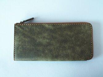 【イタリアンレザー】薄型L字ファスナー長財布 カーキの画像