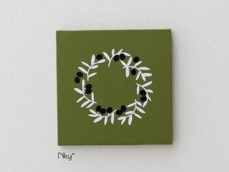 オリーブリースのファブリックパネル M-806◆抹茶/白-黒の画像