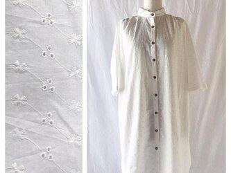すっきり涼しげなチュニックワンピース:7分袖(木綿レース:ホワイト)の画像