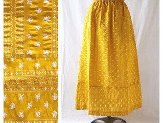 フレンチリップルの裾切替スカート(ひまわりイエロー)の画像