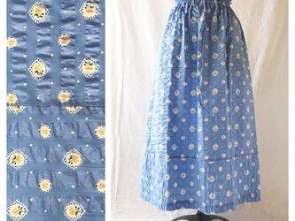 フレンチリップルの裾切替スカート(ライラックブルー)の画像
