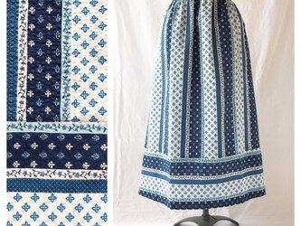 フレンチリップルの裾切替スカート(海色ストライプ)の画像