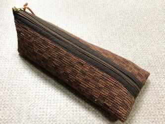 裂き織り ペンケース(茶系・市松模様)の画像
