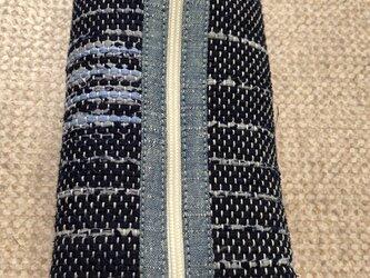 裂き織り ペンケース(紺×水色系)の画像