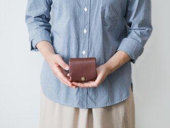 イタリア製牛革の二つ折りピッコロ財布 / ダークブラウン※受注製作の画像