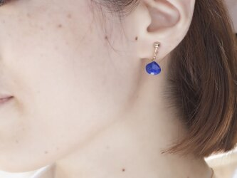 【14kgf】lapis lazuli marron cut pierced earringsの画像