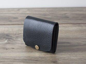 イタリア製牛革の二つ折りピッコロ財布 / ブラック※受注製作の画像