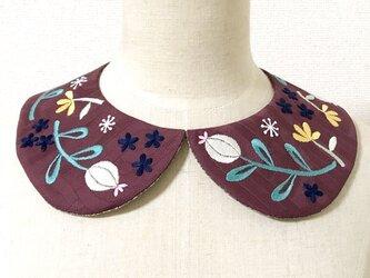 手刺繍つけ襟(ワインカラー)の画像