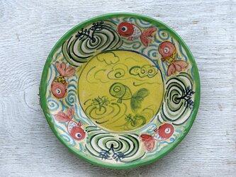 楽し気な金魚絵の丸い深皿(イエロー)の画像