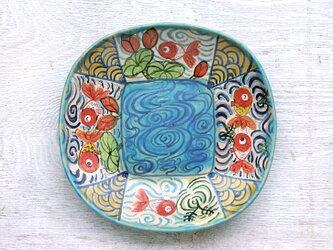 楽し気な金魚絵の深皿(ターコイズ)の画像