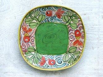 楽し気な金魚絵の深皿(グリーン)の画像