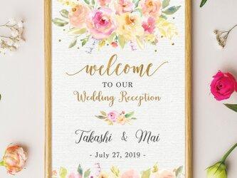 【Pink & Gold shower】ウェルカムボード˳⚛˚結婚式 印刷の画像