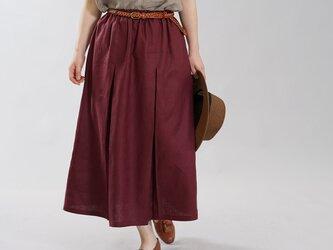 【wafu】中厚 リネン スカート インバーテット スカート 前後ダブルプリーツ / アガット s018b-agt2の画像