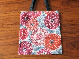 型染めミニトートバッグ(菊紋様 紅)の画像