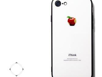 【曲げても落としても割れないガラス】 iphoneケースカバー(ホワイト×ブラック)赤リンゴ 耐衝撃の画像