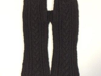 コットンリネンのケーブル編みのハンドウォーマー黒の画像
