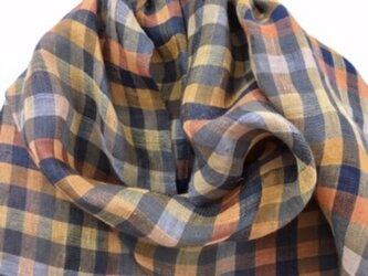 ■手織り/極々細リネンストール/myギンガムの画像