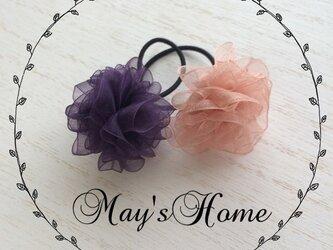 ふんわりお花のヘアゴム2個セット【ピンク&パープル】の画像
