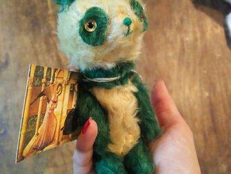 ハンドメイド*モヘアの緑パンダ*グラスアイの画像