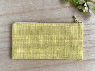 金運カラー 手織り長財布 網代織りの画像
