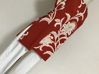 0724    着物リメイク    フリーサイズ  Tブラウス    錦紗   抽象華模様の画像