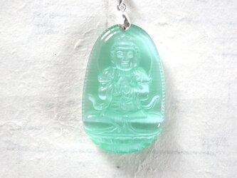 ネックレス アジアンな仏像 グリーンキャッツアイの画像