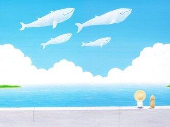 ポストカード「空泳ぐクジラ」の画像