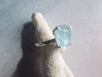 Rough Aquamarine Ring ラフロック アクアマリン原石のシルバーリング/sv925の画像