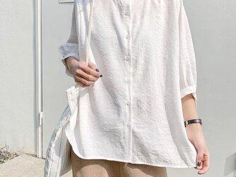 バルーンスリーブ リネン 半袖の画像