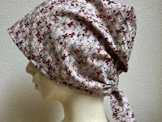 夏用ケア帽子  うす小豆色小花の画像