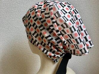 夏用ケア帽子  コーラルオレンジ 薄地の画像