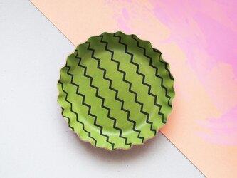 緑色 スイカ ) 本革 ビスケット型 アクセサリー トレイ 小物入れの画像