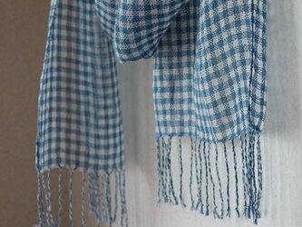 手織りギンガムストール・・あおの画像