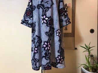 手絞り浴衣の袖口リボンゆったりチュニックの画像