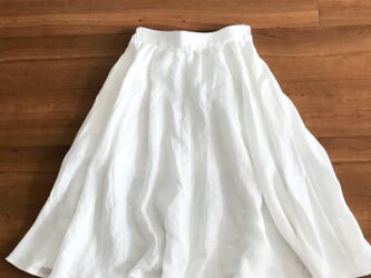 【受注制作:XS〜Mサイズ対応】背が低い人のためのリネンフレアスカートの画像