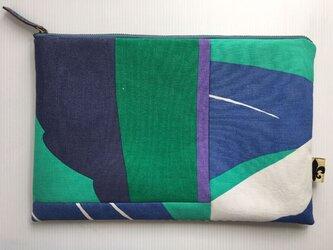 バッグインバッグ クラッチバッグ グリーンとブルー3の画像