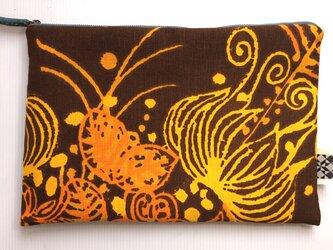 バッグインバッグ クラッチバッグ オレンジと茶2の画像