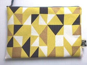 バッグインバッグ クラッチバッグ 黄色い幾何模様4の画像