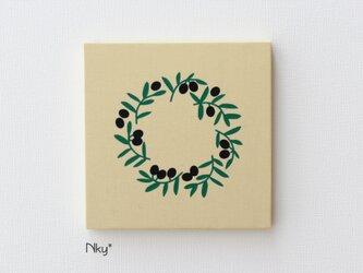 オリーブリースのファブリックパネル M-806◆たまご/緑-黒の画像