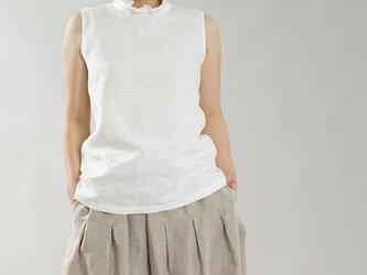 【wafu】中厚 リネン ブラウス フリル 襟 トップス タンクトップ ノースリーブ / ホワイト t043a-wht2の画像