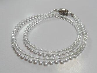 水晶 4mm玉 ネックレスの画像