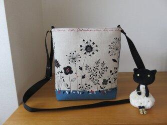 花柄シンプルショルダーバッグ(ブルー系)の画像