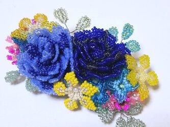 バレッタ Bouquet  (ブルーローズ)の画像