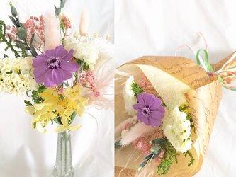 【プリザーブドフラワー/ラベンダージニアと小花をふんわりと優しく束ねた少女の花束/花束ラッピング付き】の画像