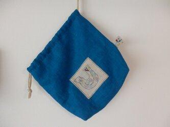 巾着 鮮やかなブルーの画像