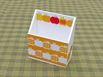 りんごの携帯ホルダー(水玉・橙)の画像