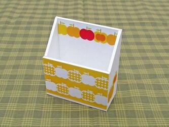 りんごの携帯ホルダー(水玉・山吹)の画像