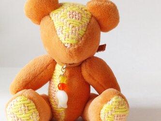 こぎん刺しのテディベアSS 総刺しこぎんクマ オレンジの画像
