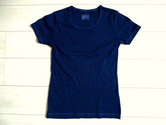 ◆100%自然素材 天然灰汁発酵建て 本藍染◆ オーガニックコットン レディースTシャツの画像