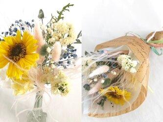 【プリザーブドフラワー/ガーベラと小花をふんわりと優しく束ねた花束/花束ラッピング付き】の画像